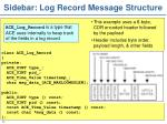 sidebar log record message structure