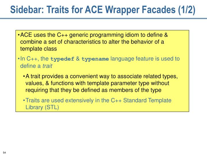 Sidebar: Traits for ACE Wrapper Facades (1/2)
