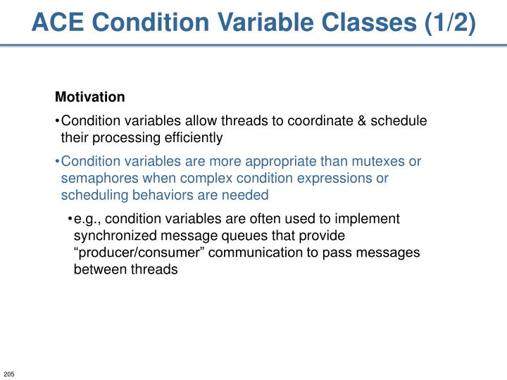 ACE Condition Variable Classes (1/2)