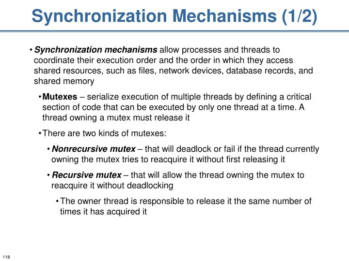 Synchronization Mechanisms (1/2)