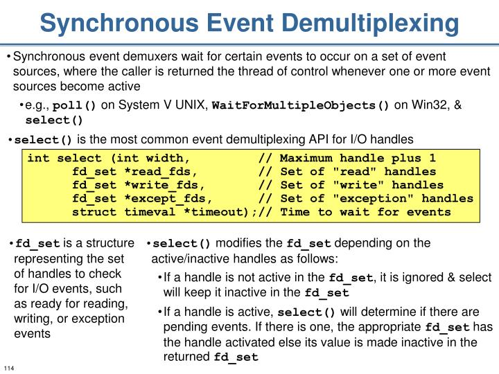 Synchronous Event Demultiplexing