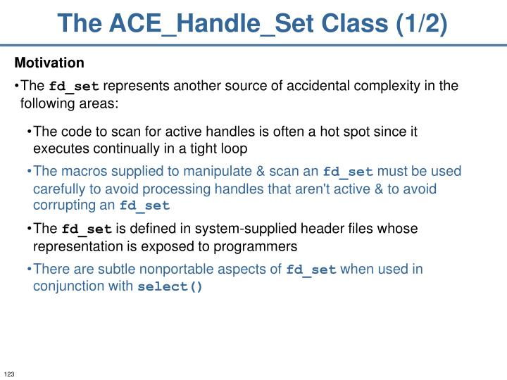 The ACE_Handle_Set Class (1/2)