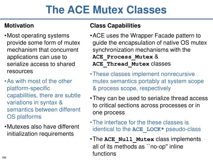 The ACE Mutex Classes