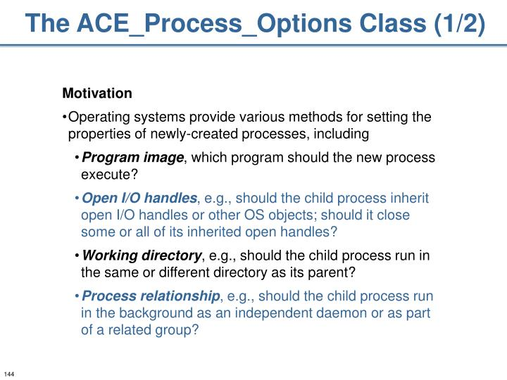 The ACE_Process_Options Class (1/2)