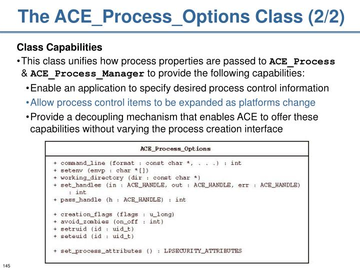 The ACE_Process_Options Class (2/2)