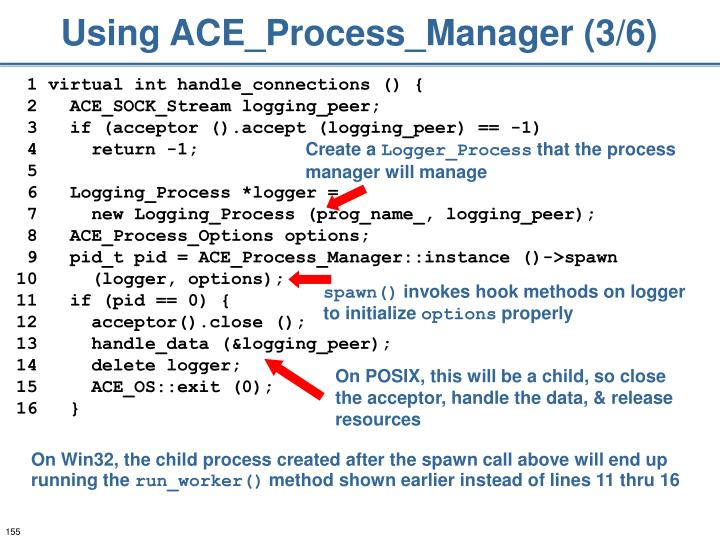 Using ACE_Process_Manager (3/6)