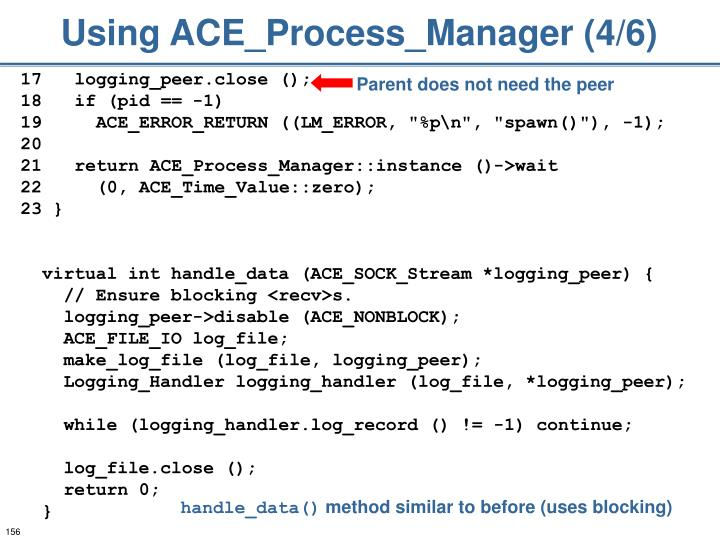 Using ACE_Process_Manager (4/6)