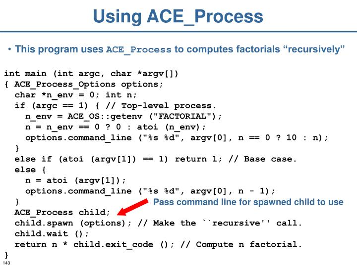 Using ACE_Process