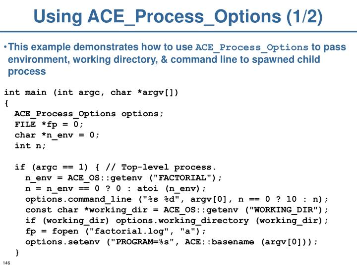 Using ACE_Process_Options (1/2)