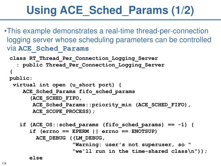 Using ACE_Sched_Params (1/2)