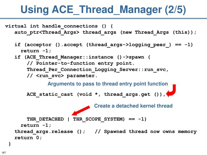 Using ACE_Thread_Manager (2/5)