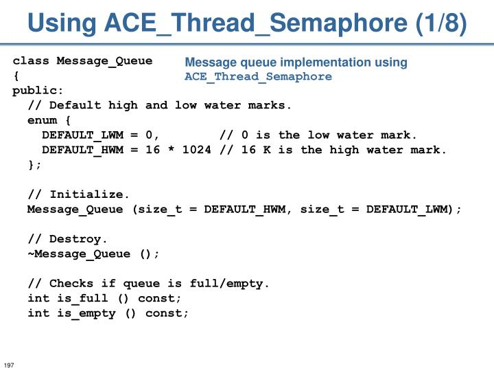 Using ACE_Thread_Semaphore (1/8)