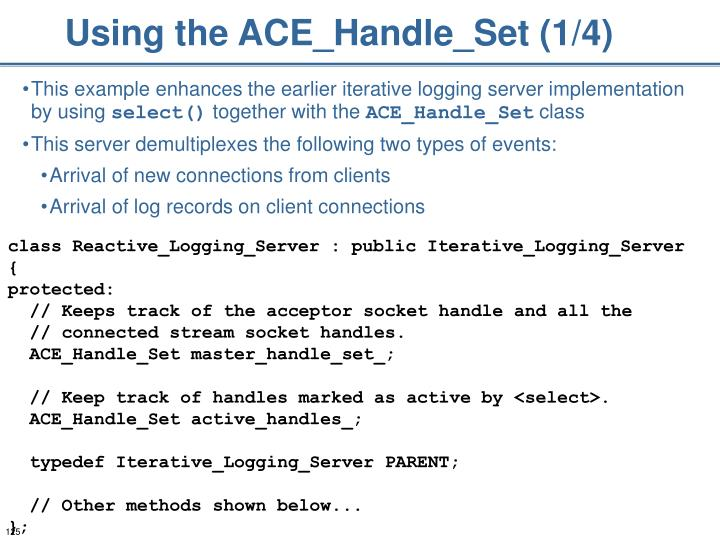 Using the ACE_Handle_Set (1/4)