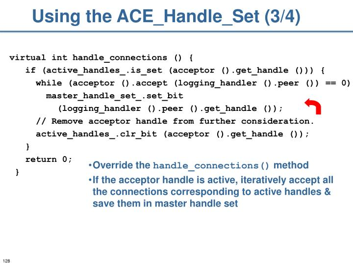 Using the ACE_Handle_Set (3/4)
