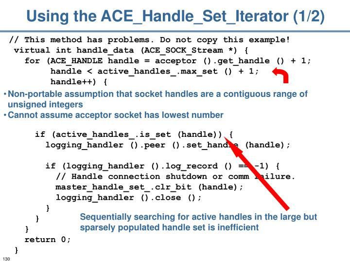 Using the ACE_Handle_Set_Iterator (1/2)