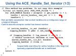 using the ace handle set iterator 1 2