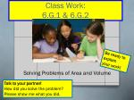 solving problems of area and volume