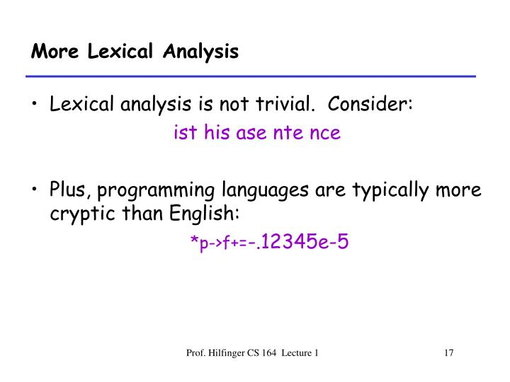 More Lexical Analysis