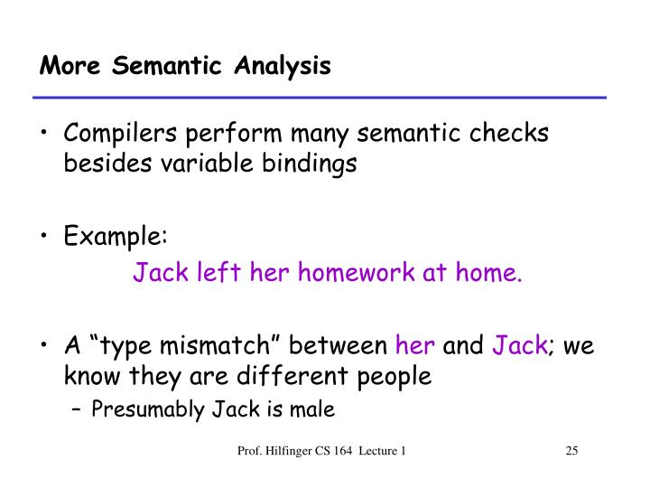 More Semantic Analysis