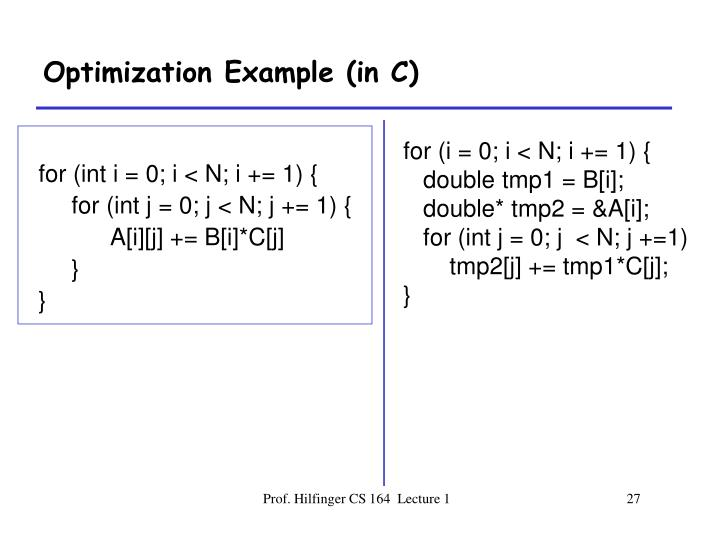 Optimization Example (in C)
