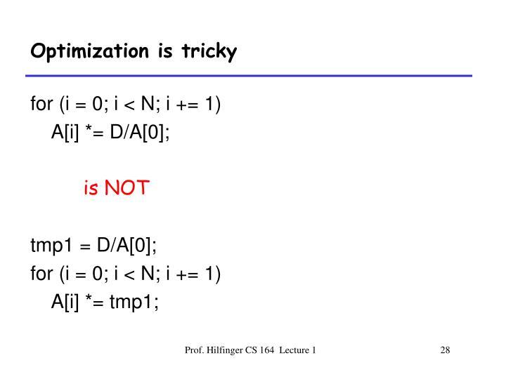 Optimization is tricky