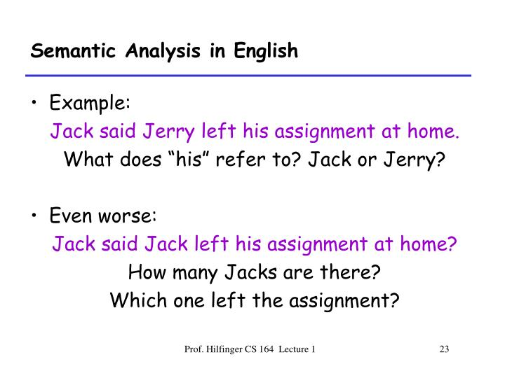Semantic Analysis in English