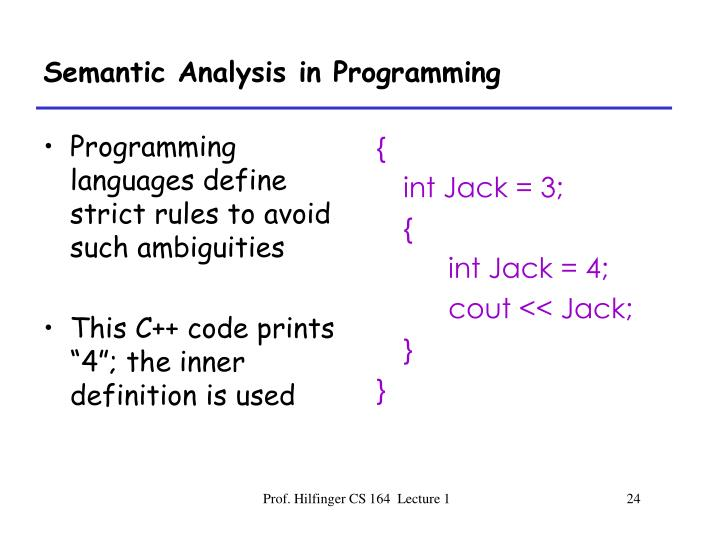 Programming languages define strict rules to avoid such ambiguities