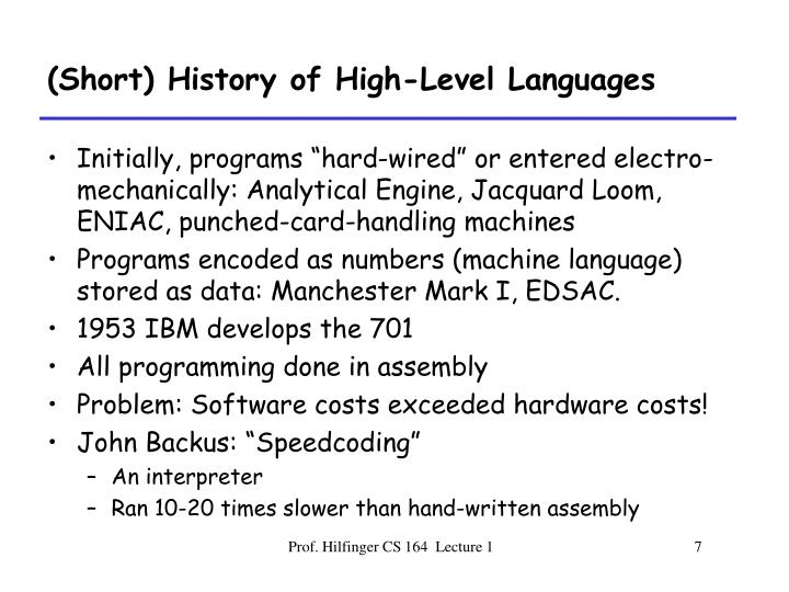 (Short) History of High-Level Languages