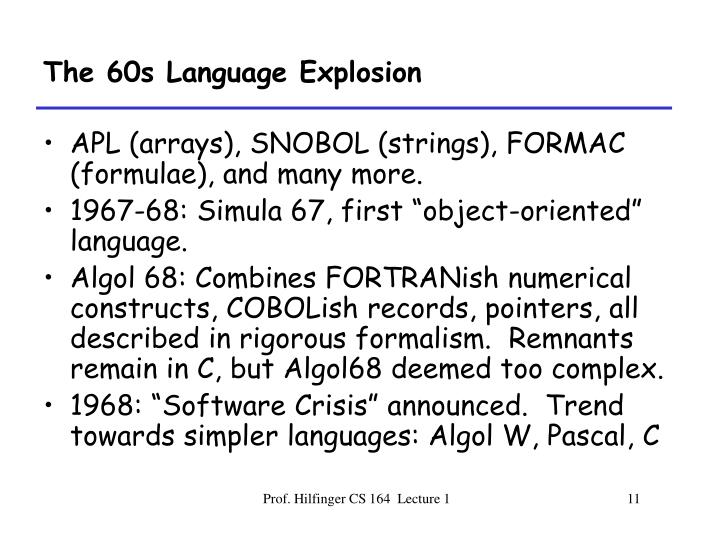 The 60s Language Explosion