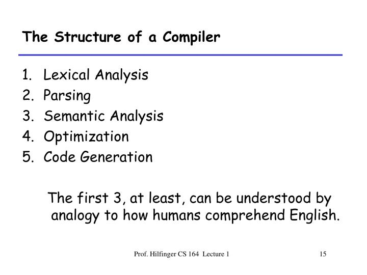 The Structure of a Compiler