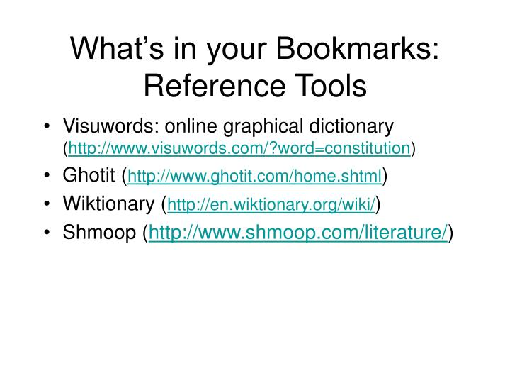 What's in your Bookmarks: Reference Tools