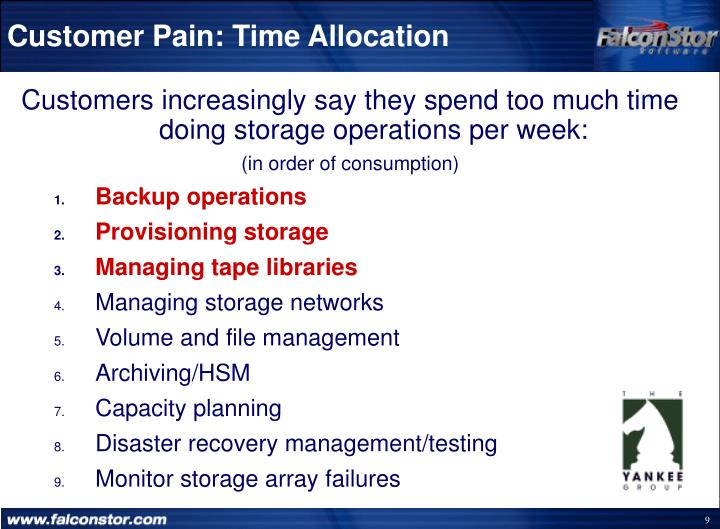 Customer Pain: Time Allocation