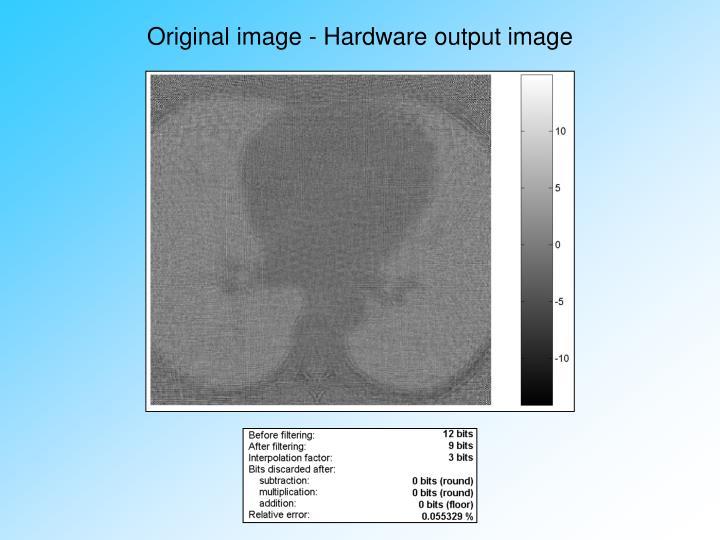Original image - Hardware output image