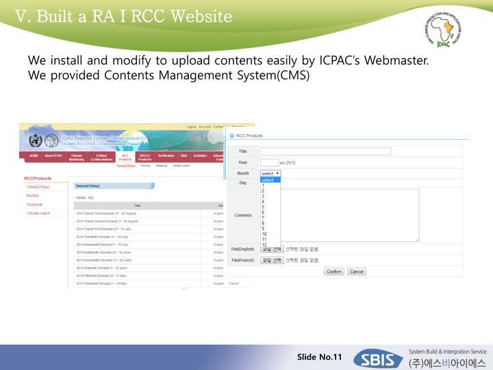 V. Built a RA I RCC Website