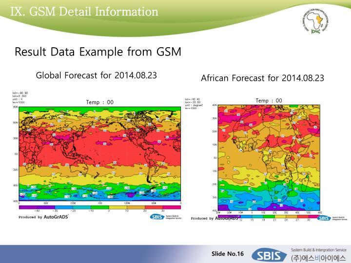 IX. GSM Detail Information