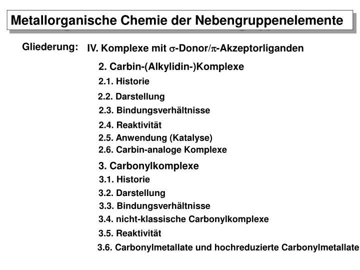 Metallorganische Chemie der Nebengruppenelemente