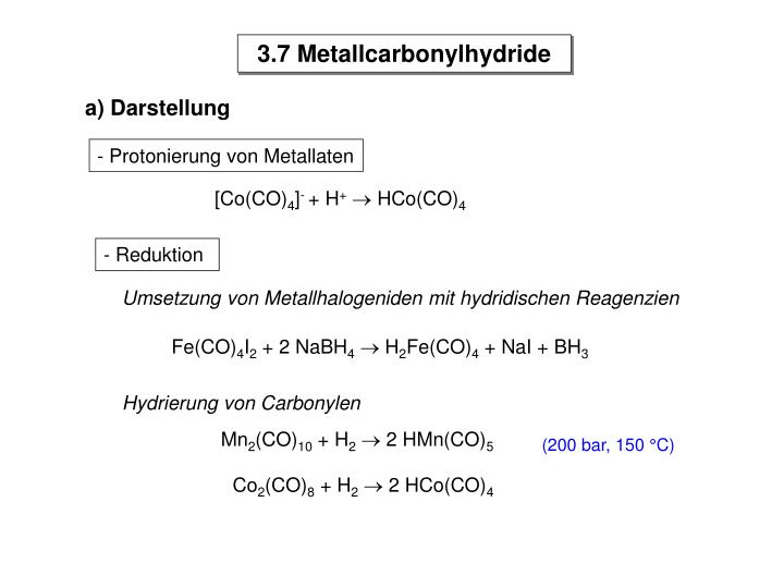 3.7 Metallcarbonylhydride