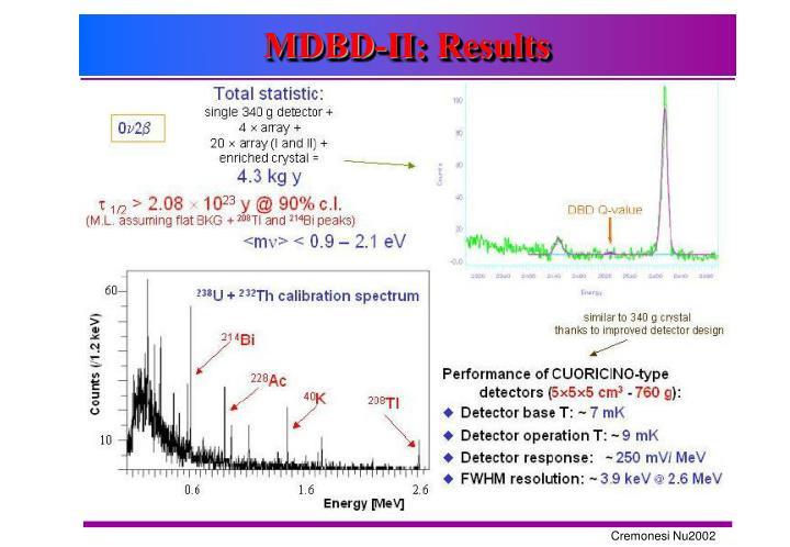 MDBD-II: Results