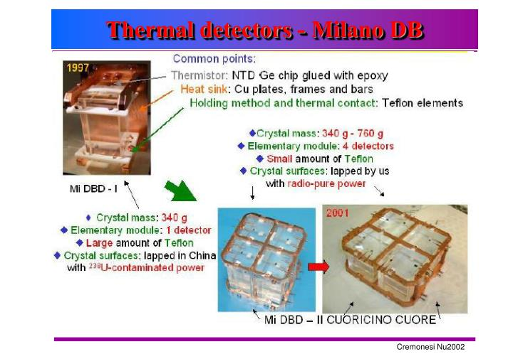 Thermal detectors - Milano DB