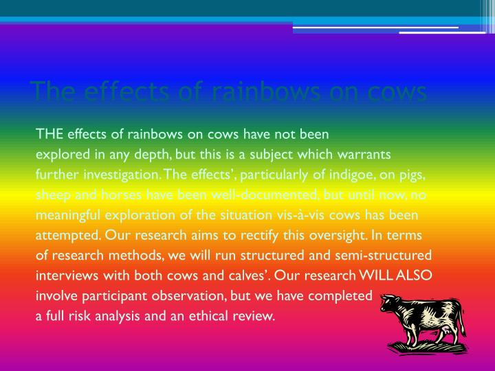 The effects of rainbows on cows