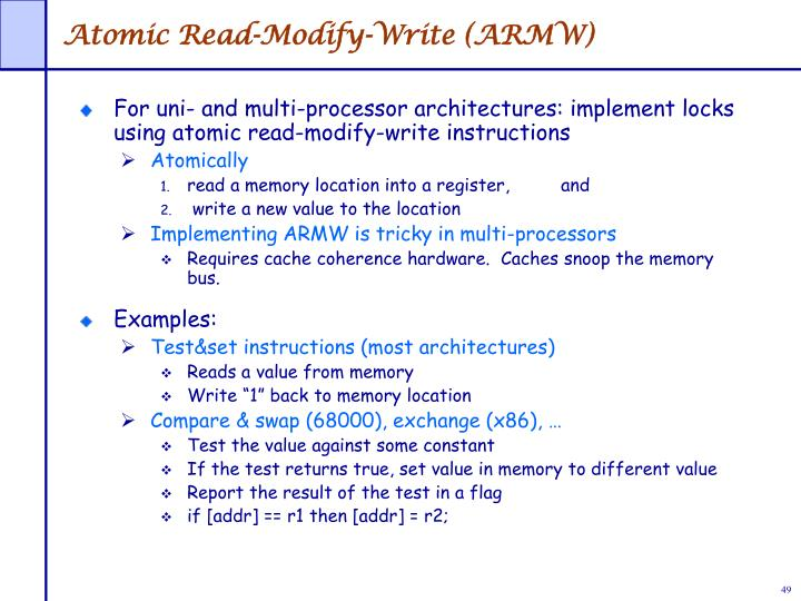 Atomic Read-Modify-Write (ARMW)