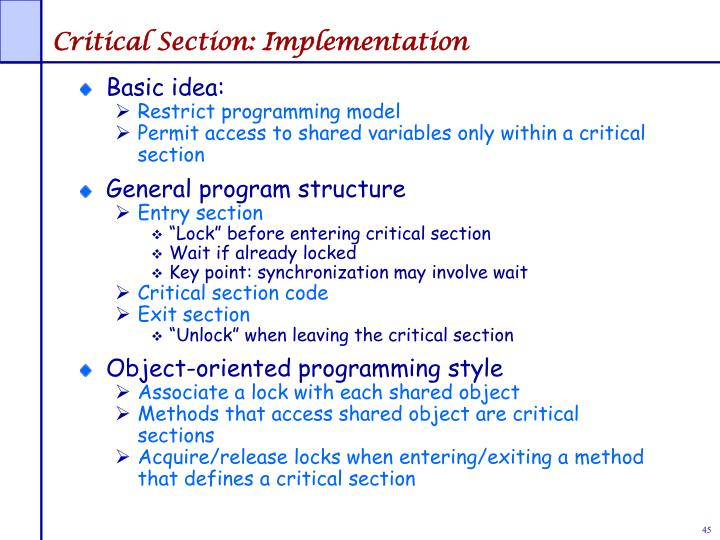 Critical Section: Implementation