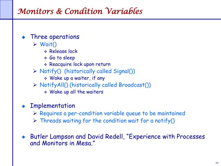 Monitors & Condition Variables