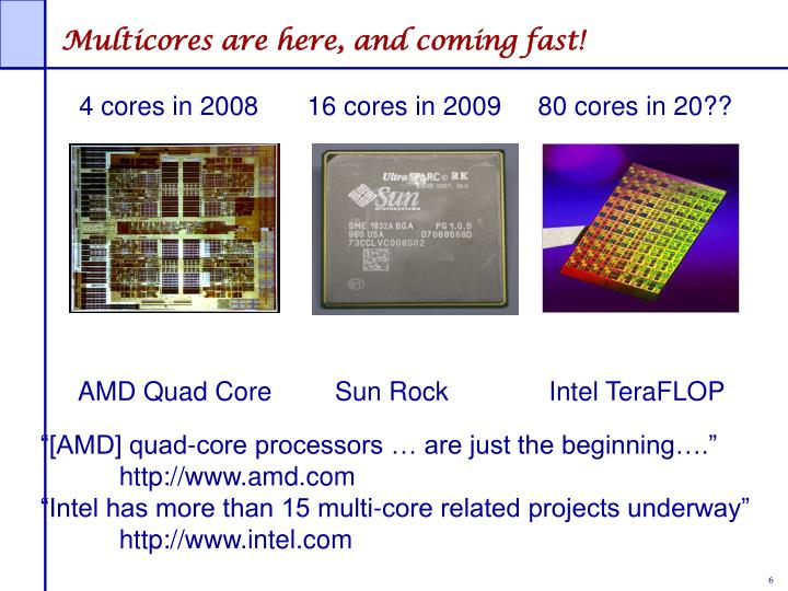 Multicores are here, and coming fast!