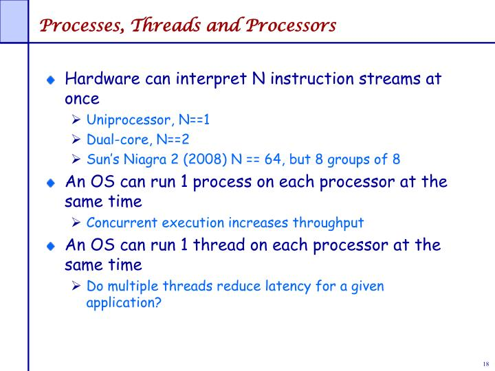 Processes, Threads and Processors