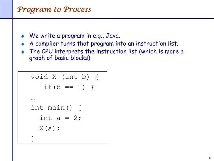 Program to Process