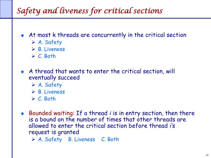 Safety and liveness for critical sections
