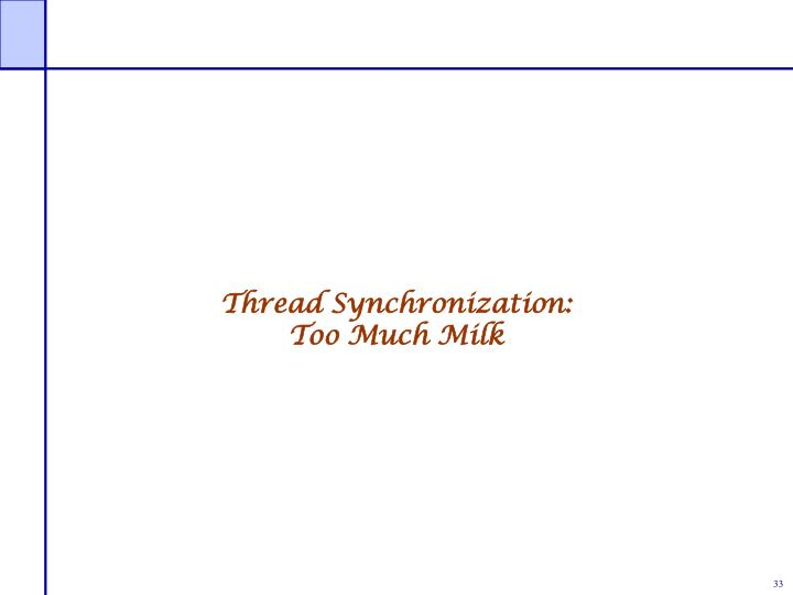 Thread Synchronization:
