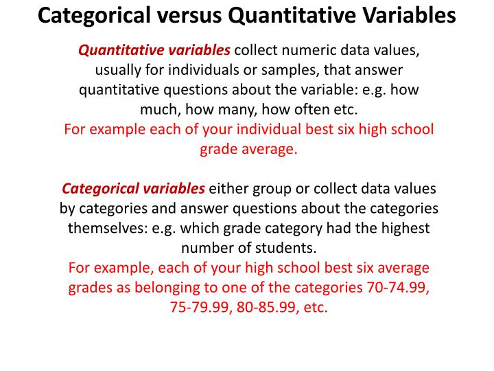 Categorical versus Quantitative Variables