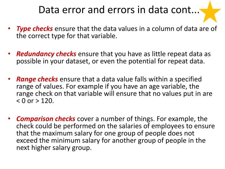 Data error and errors in data cont...